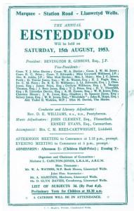 Rhaglen yr Eisteddfod o 1953